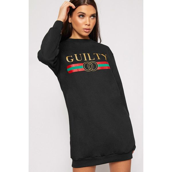 WearAll Guilty Slogan Sweater Dress (£22) ❤ liked on Polyvore featuring dresses, black, long sleeve baggy dress, long-sleeve sweater dresses, sweater dresses, long sleeve dress and long sleeve pattern dress