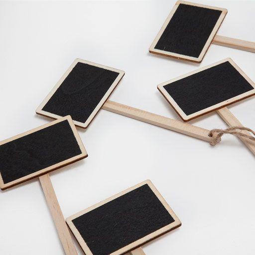 Mini lavagne in legno da appendere (set da 6)