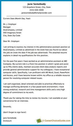 Here is a cover letter sample to give you some ideas and inspiration for writing your own cover letter.: