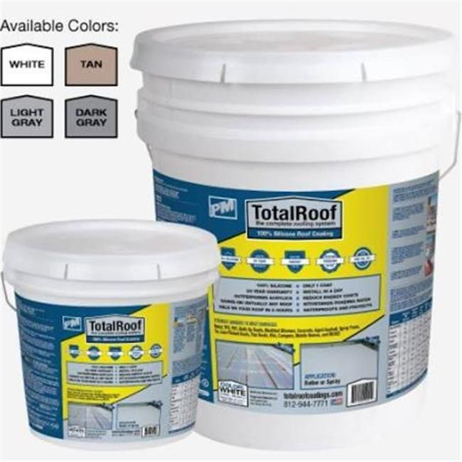 Total Roof 226704 5 Gal White Silicone Roof Coating One Coat Light In The Dark Roof Coating Coffee Cans