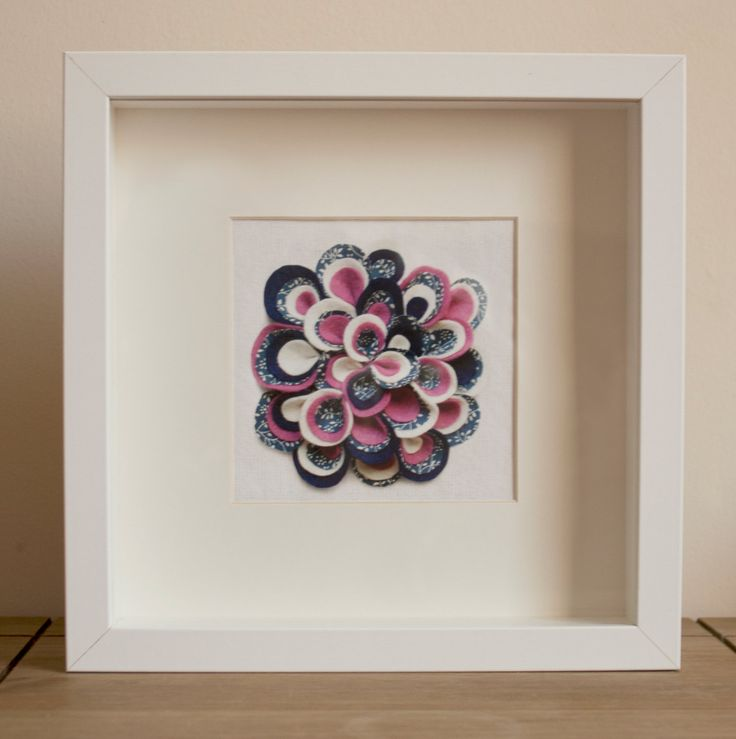 Printed Handmade Bloomin Felt Flower, Blue & Pink, White Box Frame, Decorative Wall Art, Paper Cut, Mixed Fabric 3D Petals Giclee Print by BloominCraftyDesign on Etsy