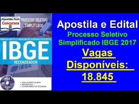 Apostila Edital Processo Seletivo Simplificado IBGE 2017 Cargo: Recenseador
