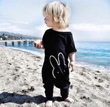 Boutique Black Long Design Kids Rompers Organic Cotton Baby Rompers Wholesale Baby Clothes