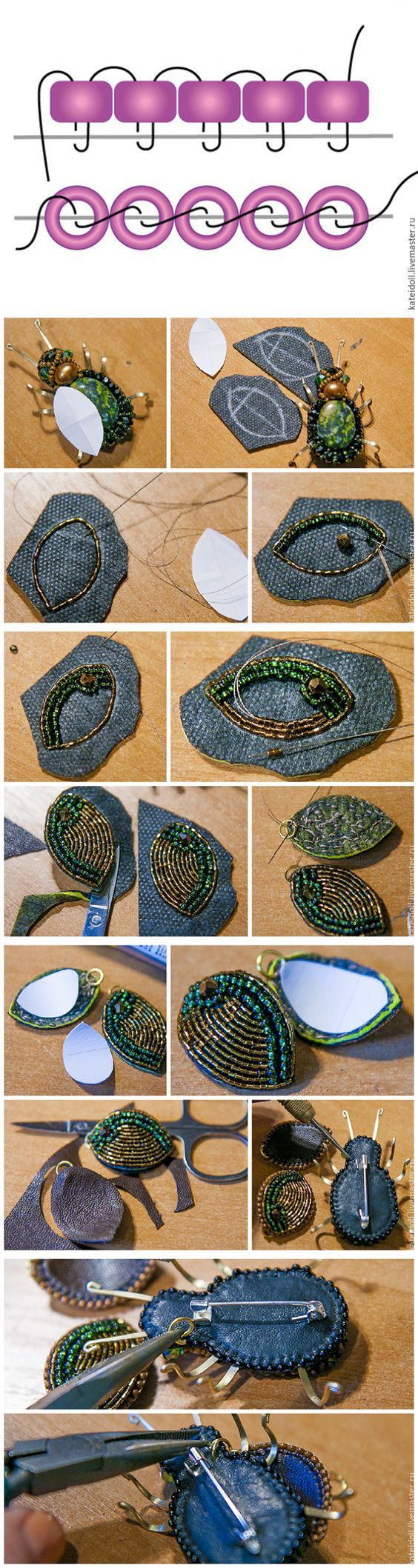 """Beaded brooch """"Bug"""" tutorial"""