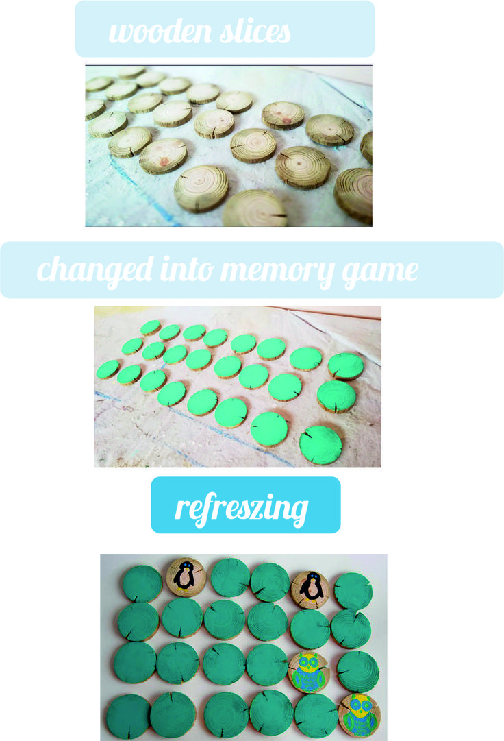 How to make memory game of wooden slices? Piece of cake. Hand painted, creative.
