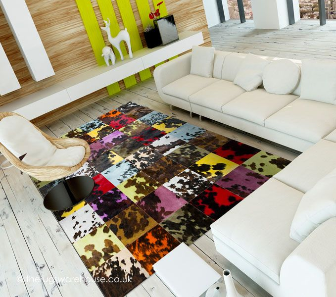 Tricolio Rug, a colourful 100% cowhide leather rug handmade in Spain http://www.therugswarehouse.co.uk/modern-rugs3/girona-rugs/tricolio-rug.html #rugs #interiors