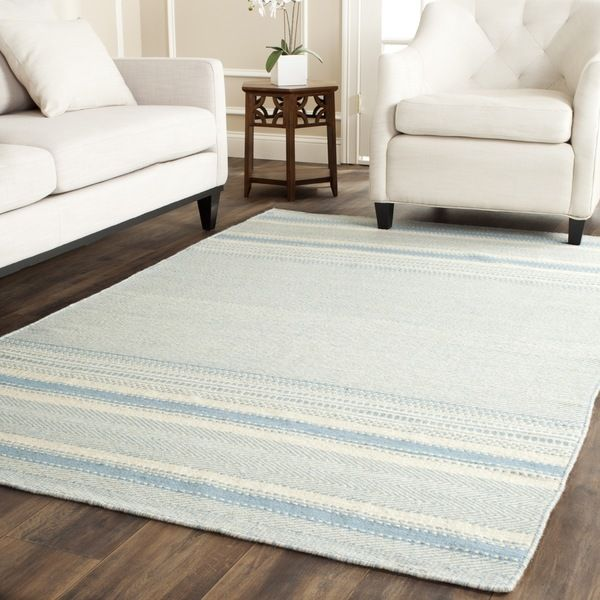 Safavieh Hand Woven Kilim Light Blue/ Ivory Wool Rug (9u0027 X 12