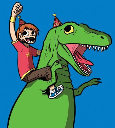 Scott Pilgrim riding the T-rex from Dinosaur Comics, drawn by Bryan Lee O'Malley himself!