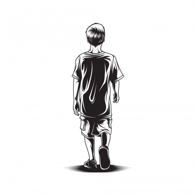Kid Walk View Back Illustration In 2020 Boy Walking Illustration Children Illustration