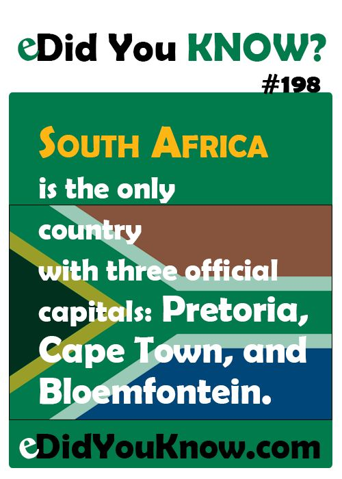 South Africa is the only country with three official capitals: Pretoria, Cape Town, and Bloemfontein.