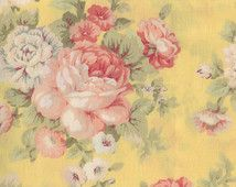 SHABBY ROSE Fabric By The Yard Fat Quarter FLORAL Pink Yellow Peony
