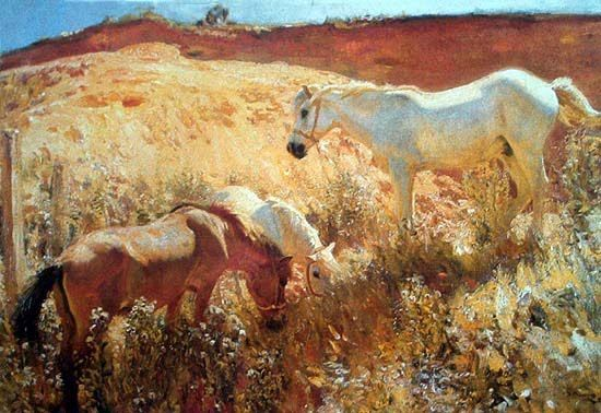 """Ponies in a Sandpit"" by Sir Alfred Munnings."