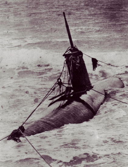 Ensign Katsuo Sakamakis captured midget submarine, washed ashore at Bellows Field, Oahu. Of the ten submariners to participate in the attack, only Sakamaki survived. He became Americas first prisoner of war during World War II.
