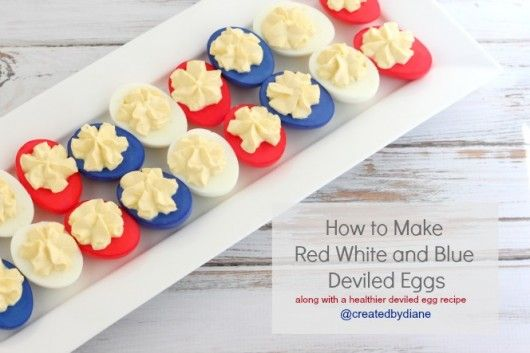 How to make Red White and Blue Deviled Eggs @createdbydiane