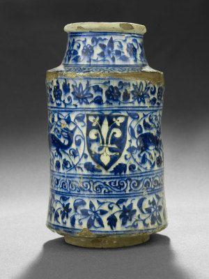 Blue and White Armorial Albarello, Mamluk, Syria, 15th century Museum of Islamic Art, Doha