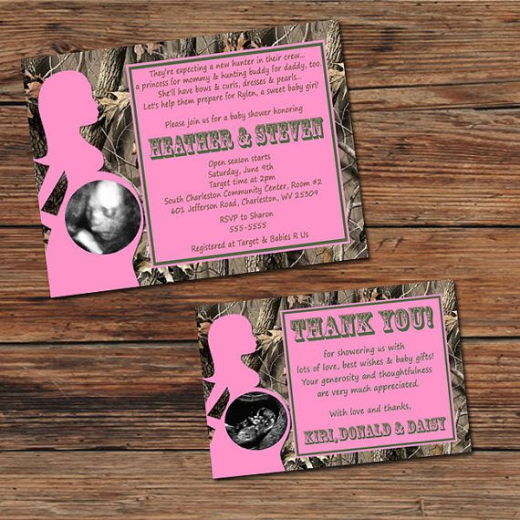 14 best camo baby shower invitations images on pinterest camo baby realtree real tree camo pink baby shower invitations or thank you cards sonogram ultrasound filmwisefo