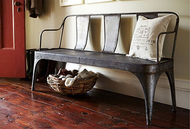 A rustic metal foyer bench:  where modern industrial and comfortably rustic meet.