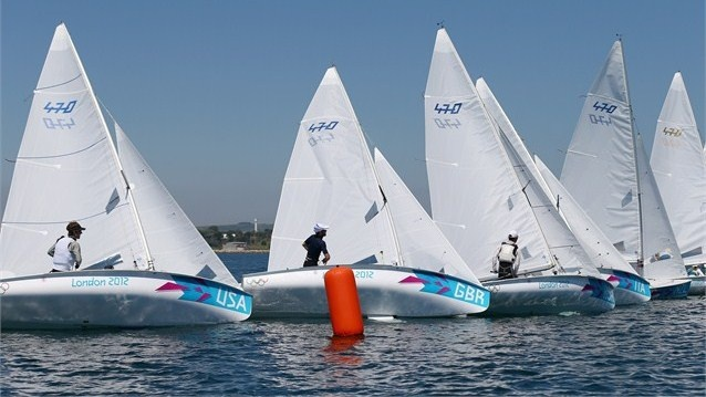 Luke Patience and Stuart Bithell of Great Britain sail in the men's 470 training race at the Weymouth and Portland venue on 24 July.  ....... Olympics 2012- London, England