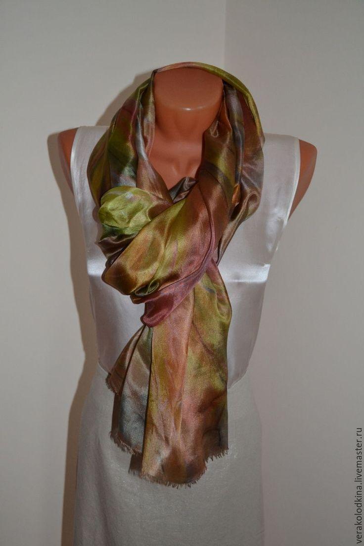 """Купить Палантин шелковый """"Бронзово-золотистый"""" - оливковый, абстрактный, купить шарф, шарф зелёный"""