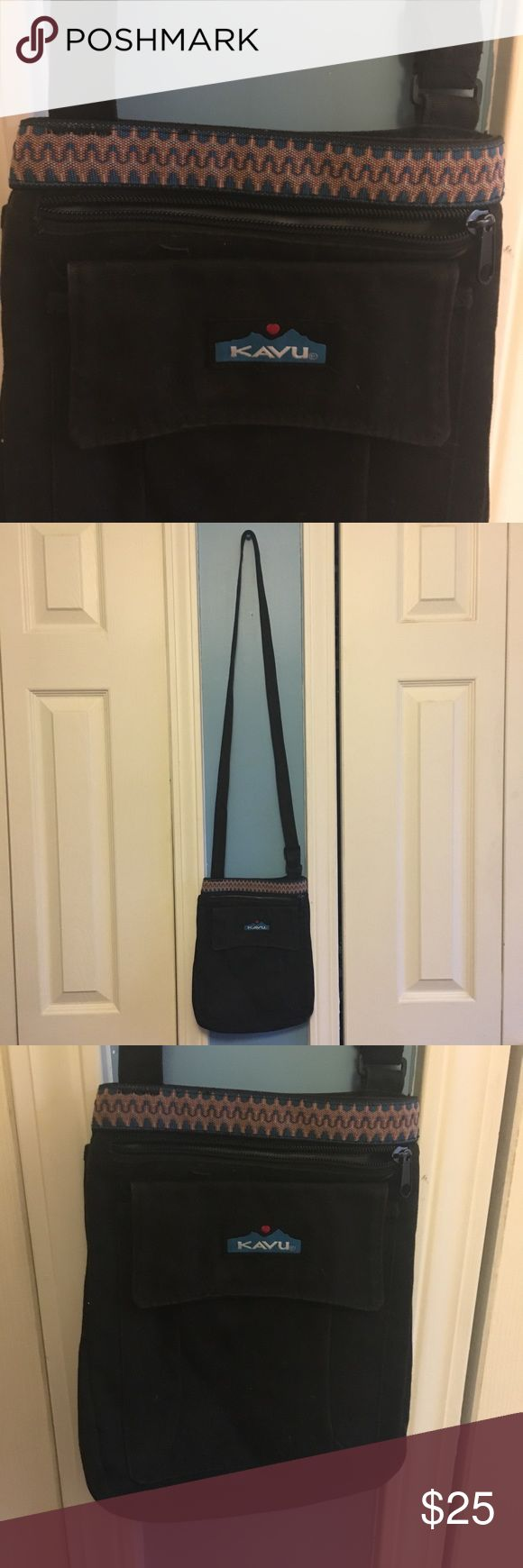 KAVU Keeper Bag Black Crossbody Bag with blue, orange and white design. This bag is a great everyday bag, and is also really good for outdoor activities. This goes with pretty much any outfit, and is really cute! KAVU Bags Crossbody Bags