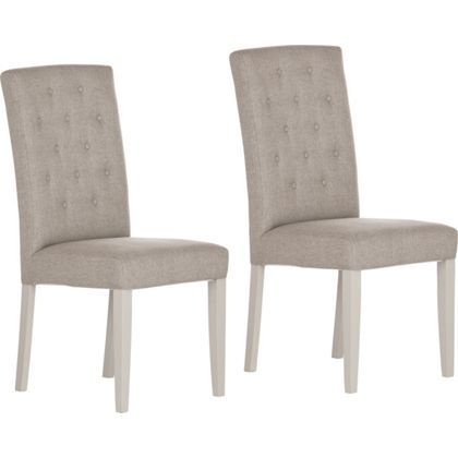 Schreiber Ashington Painted Pair Of Grey Dining Chairs