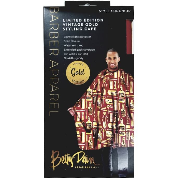 Betty Dain Limited Edition Vintage Gold Styling Cape Gold/Burgundy #188-G/BUR $19.95 Visit www.BarberSalon.com One stop shopping for Professional Barber Supplies, Salon Supplies, Hair & Wigs, Professional Product. GUARANTEE LOW PRICES!!! #barbersupply #barbersupplies #salonsupply #salonsupplies #beautysupply #beautysupplies #barber #salon #hair #wig #deals #BettyDain #LimitedEdition #Vintage #Gold #Styling #Cape #Gold #Burgundy #188GBUR
