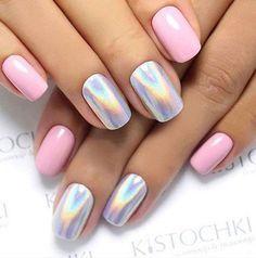 Las combinaciones en tonos pasteles nos encantan #Uñas #Style #Nails #Mani #Pink