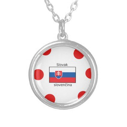 Slovak Language And Slovakia Flag Design Silver Plated Necklace - jewelry jewellery unique special diy gift present