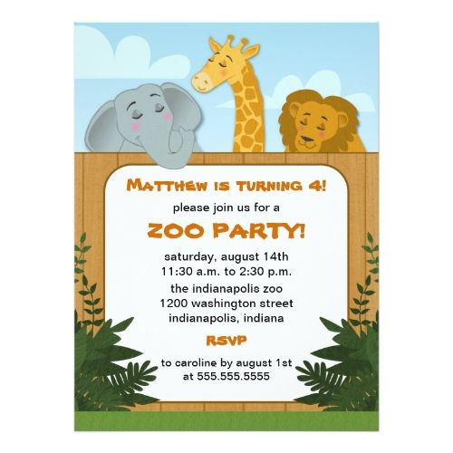 120 best zoo birthday party invitations images on pinterest kids zoo birthday party invitations stopboris Gallery