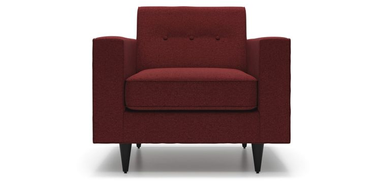 Riva Arm Chair in Red Merlot Fabric by Kavuus.com (Made in Canada)