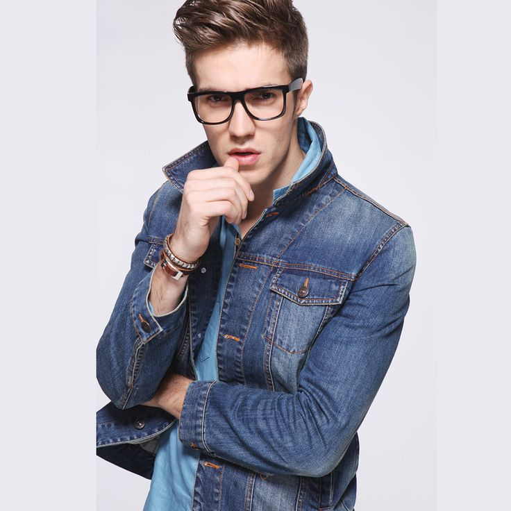 Mens Denim Jacket Casual Denim Light Wash Long Sleeve Slim Single ...