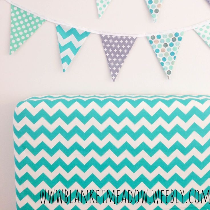 Turquoise chevron fitted cot sheet with matching bunting - complete with spots and stripes.