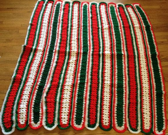 Vintage Crocheted Christmas Throw by lishyloo on Etsy, $25.00