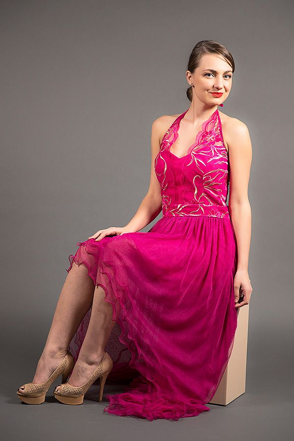 Haltered High-Low Evening Gown