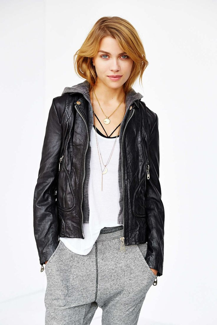 Leather jacket urban outfitters - Doma Bianca Hooded Leather Bomber Jacket