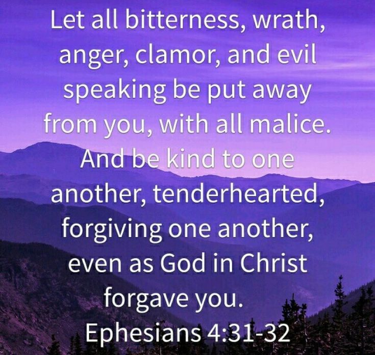 """Let all bitterness, and wrath, and anger, and clamor, and railing, be put away from you, with all malice: and be ye kind one to another, tenderhearted, forgiving each other, even as God also in Christ forgave you."" ‭‭Ephesians‬ ‭4:31-32‬ ‭ASV‬‬ http://bible.us/12/eph.4.31-32.asv"