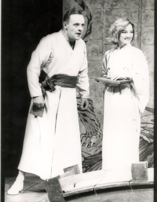 """Anthony Hopkins and Virginia Greig as Lambert and Donna LeRoux in the National Theatre production of David Hare's """"Pravda""""."""
