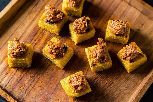 Polenta Appetizer Squares with Sun Dried Tomato Walnut Tapenade