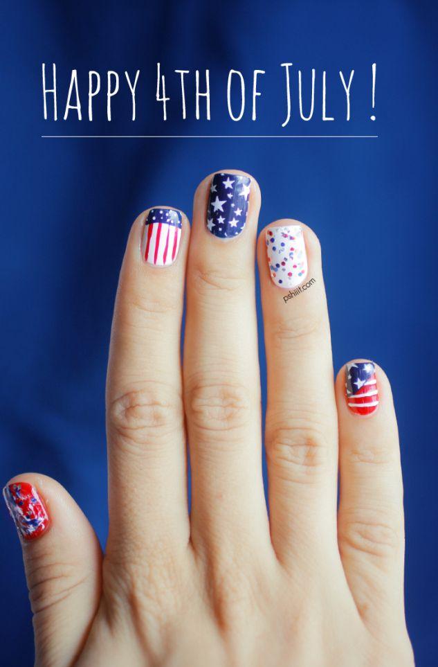 4th Of July Nail art by Pshiiit