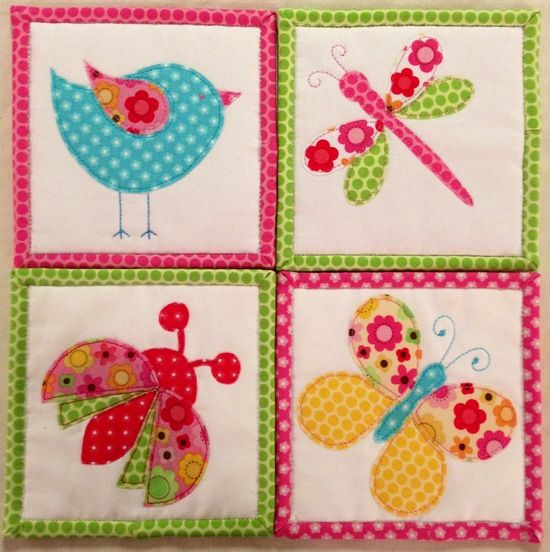 Very pretty springtime/summer applique-coasters... would make a gorgeous little girls quilt!! pinning to remember the applique