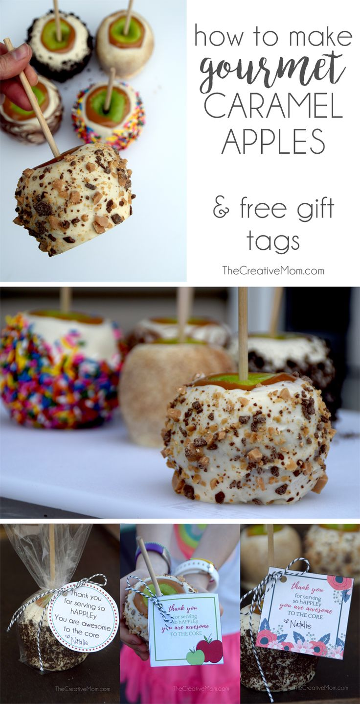 How to make gourmet candy apples, caramel apples, and toffee apples (and a free printable thank you gift tag too!) These are SO fun to make, they turn out gorgeous, and they are a great teacher gift idea. Perfect for teacher appreciation, end of school, or any time you want to say thank you for teachers, friends, family, or neighbors.- The Creative Mom