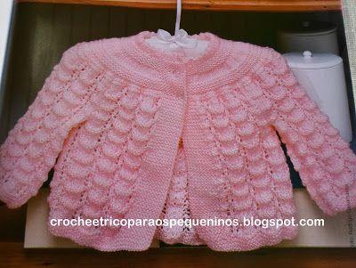 CROCHE E TRICO PARA OS PEQUENINOS: Casaquinho de trico para bebe receita