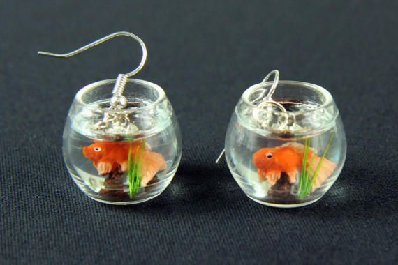 Goldfish in a bowl fishbowl earrings Miniblings fish aquarium