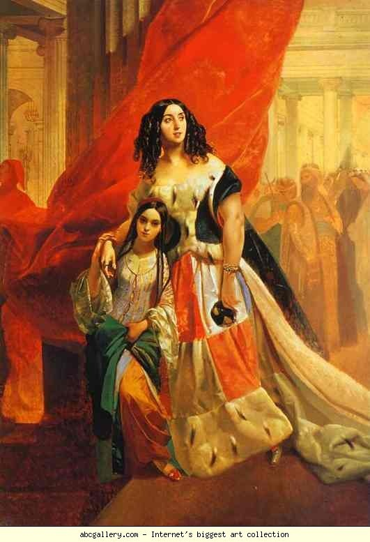 Karl Brulloff. Portrait of Countess Yu. P. Samoilova and Her Ward Amacilia Pacini Leaving a Ball.