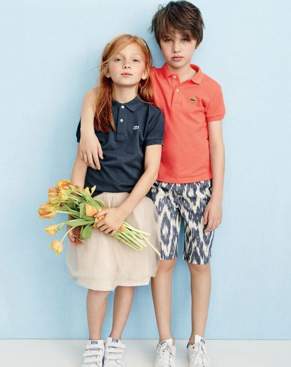 J.Crew kids' Lacoste® for J.Crew polo shirt, girls' tulle skirt and Adidas® Stan Smith™ sneakers. J.Crew boys' pull-on short in ikat.