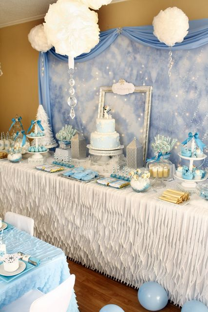 Frozen Birthday Party dessert table!  See more party ideas at CatchMyParty.com!