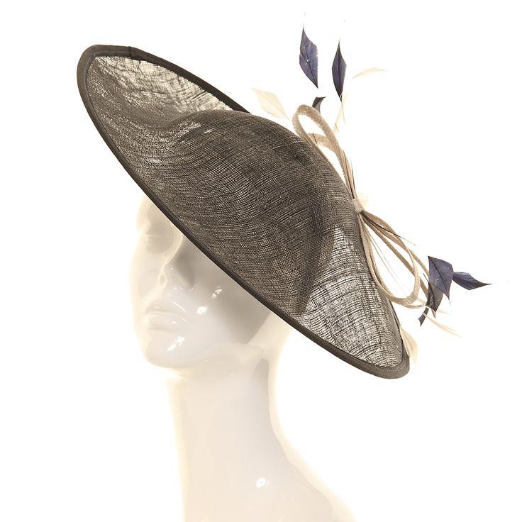 Wedding Fascinator Hat - Navy Two Tone Disc Sinamay