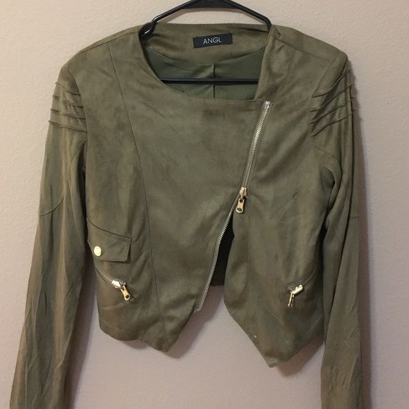 Green Suede ANGL Crop Jacket ANGL green suede cropped jacket. Size medium. Super comfortable. Slight shoulder pads so it keeps its shape. Great with black jeans and heeled boots. Fits small/ medium. ANGL Jackets & Coats