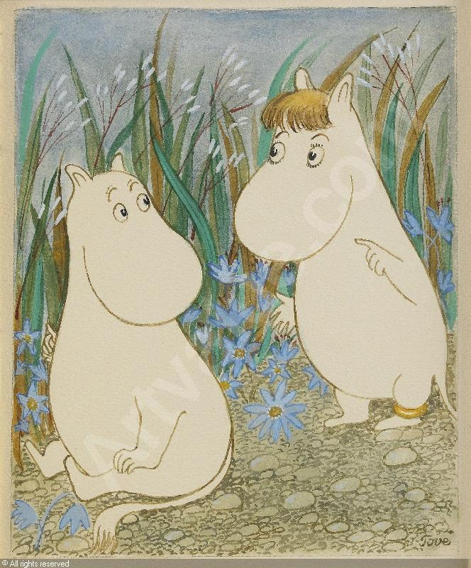Mumintrollet and Snorkfröken , watercolor by tove jansson