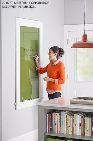 The coolest message board ever! It's simply glass that's been painted on the back and framed. Messages penned in dry-erase markers show up clearly and erase easily. See more Colorful, Creative Recycling Projects That You Can DIY at http://bhgrelife.com/colorful-creative-recycling-projects-can-diy/